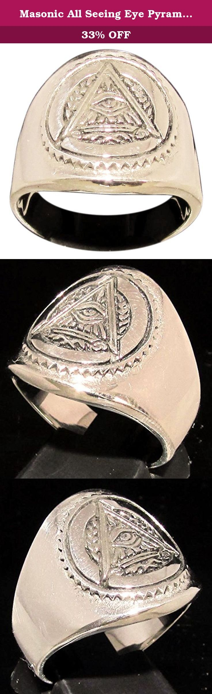 Masonic All Seeing Eye Pyramid Ring Illuminati Freemason Symbol in Bronze - Size 12.5. A unique design, hand crafted and highly detailed. This ring is solid bronze but shines like gold. The Process First, the ring is carefully carved out of wax which is then used to form a plaster mold. Next, castings can be made with molten metal, ie. sterling silver and bronze. Then are the final stages of hand polishing and thorough quality checks. Sizing: Although it can sometimes be difficult to...