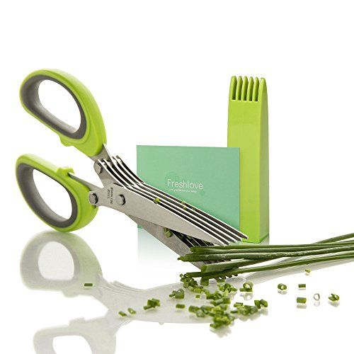 Freshlove Herb Scissors Stainless Steel - Multipurpose Kitchen Shear with 5 Blades and Cover with Cleaning Comb Freshlove