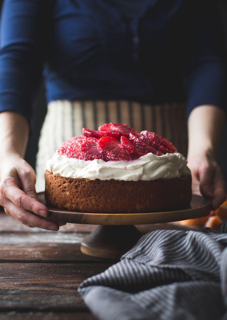 Blood Orange & Corn Flour Ricotta Cake with Whipped Mascarpone