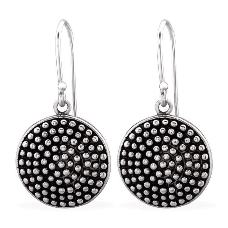 Prachtige Bali oorbel Cirkels van sterling zilver, geoxideerd voor vintage look.