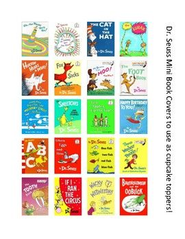Use these mini book covers on top of cupcakes for Seuss Day or a Seuss inspired party.