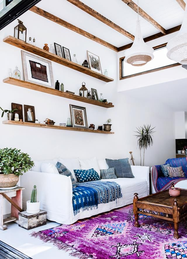 Boho living room from a global-inspired home in inner-city Sydney. Photography: Maree Homer | Styling: Louella Tuckey