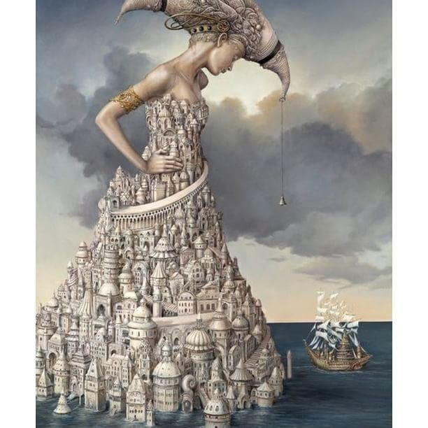 """...sometimes we enter art to hide within it. It is where we can go to save ourselves, where a third-person voice protects us."" ― M.Ondaatje ❇  Tomek Sętowski  #surreal #surrealart #surrealism #art #creativity #instaart #painting #magic #protection #white #pearl #sea #incarnation #goddess #guardian"