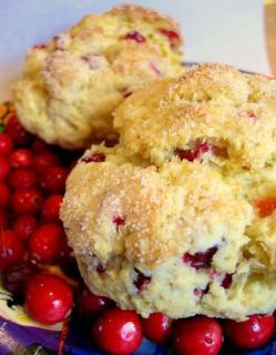 Fresh Cranberry Orange Scones....So excited to make these.    These were so delicious, tart and just a little spin off my grandma's regular scone recipe so definitely comfort food for me. Perfecto!