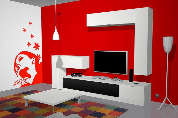 Muebles salón comedor con un vistoso vinilo en color rojo