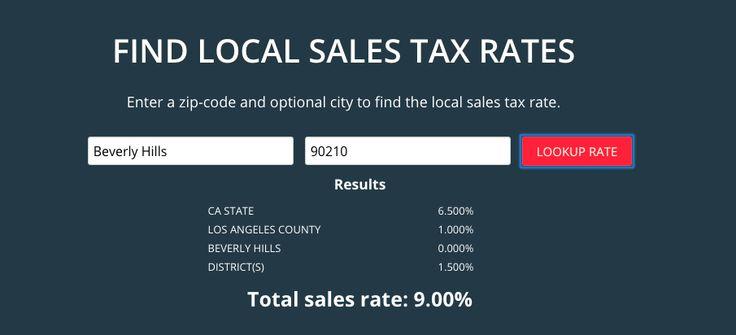 Sales Tax Nexus and Rates Calculator via TaxJar.