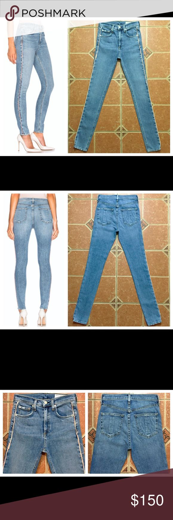 "RAG & BONE High Rise Skinny Jeans $250 RAG & BONE High Rise Skinny Jeans Frayed Side Edges Size 24 x 30  MEASUREMENTS: ACROSS WAIST: 12"" RISE: 10"" INSEAM: 30"" ACROSS LEG OPENING: 4.5"" rag & bone Jeans Skinny"