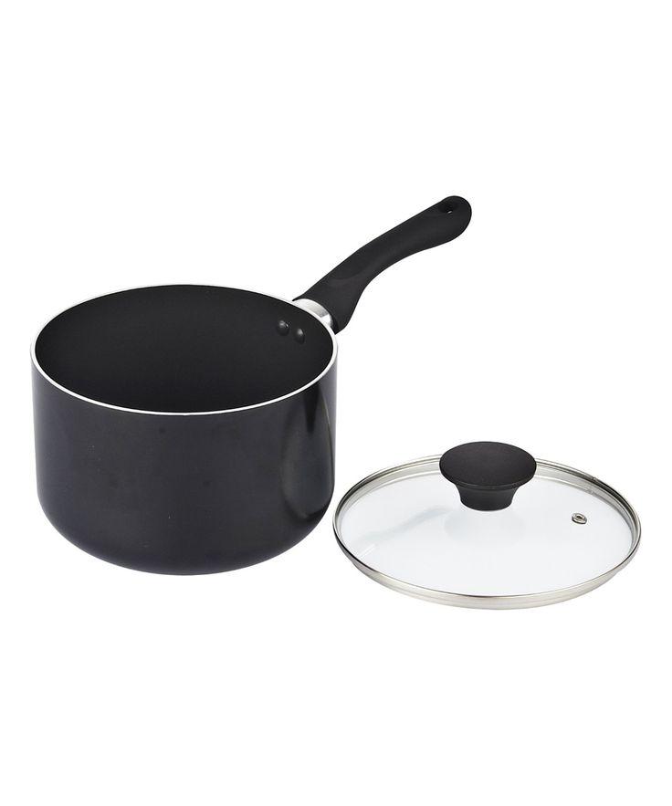 Black Nonstick Covered Saucepan