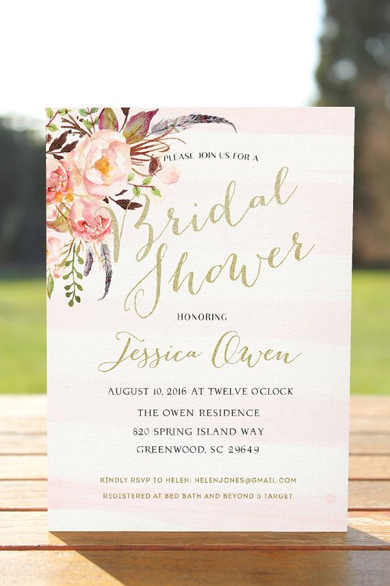 Bridal shower invitation, boho bridal shower, printable bridal invitation, rustic floral Wedding Shower invite, Blush Pink Bridal Shower
