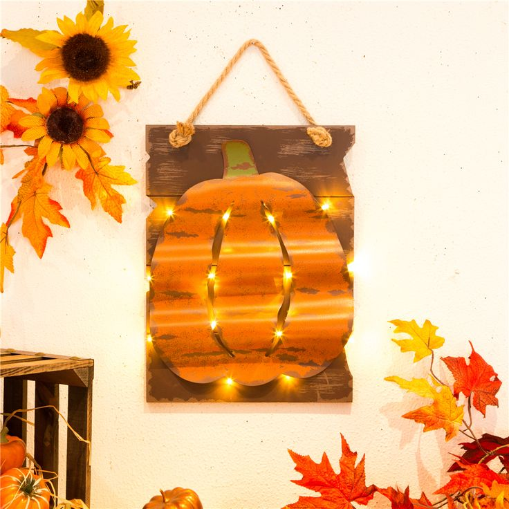 handcrafted woodeniron pumpkin wall hanging decor with light and onoff switch - Harvest Decor