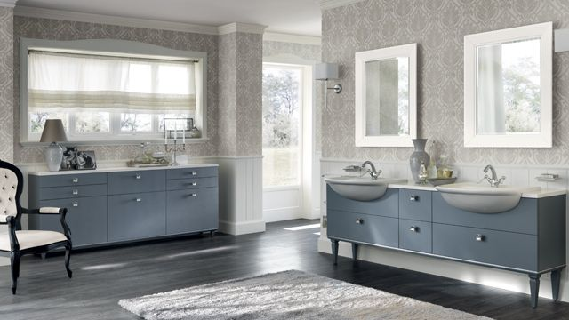 This composition in Aviation Blue matt lacquer finish is inspired by the Art Deco style. It is an elegant design for a shared space (with two Dayl semi-inset ceramic washbasins).