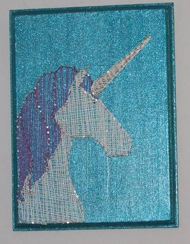 Wow, sparkly unicorn! This awesome piece of string art was a swap gift from Ceda to sheeshakaye on Craftster :D