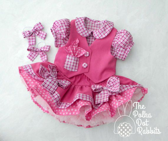 Toddler Girls Pink Denim Cowgirl Dress Twirl by ThePolkaDotRabbits