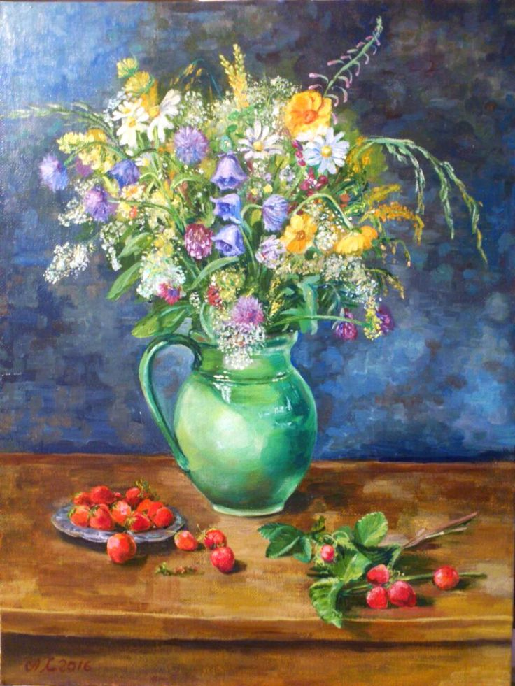 Oil painting Bouquet of wildflowers with strawberry For sale