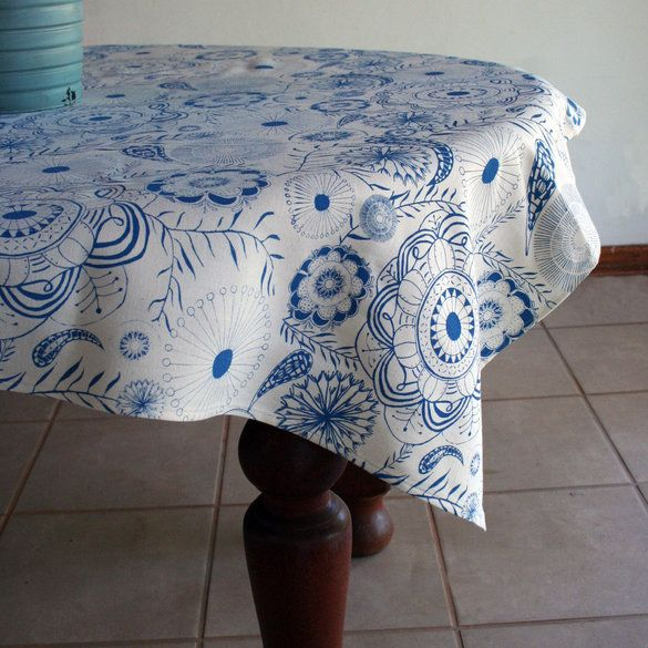 Snorkel blue and white dandelion inspired tablecloth. Screen Print design