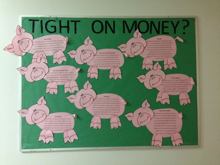 Resident Assistant bulletin board on how to save money and budget. Bethany College, West Virginia via Amber Lancaster Senior RA 2014