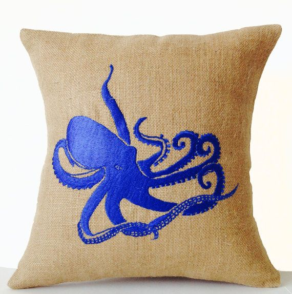 Sea pillow Embroidered octopus pillow cover Burlap by AmoreBeaute