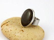 Mocca- pierścionek z krzemieniem pasiastym