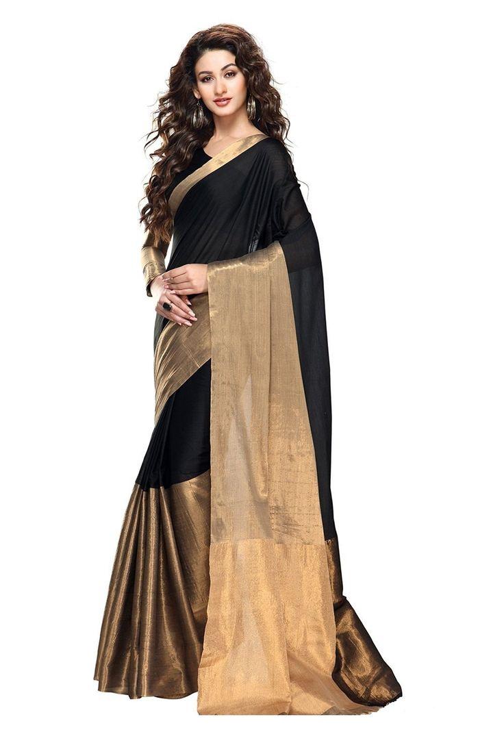 Kapadewala Designer Black Cotton Silk Saree For Women