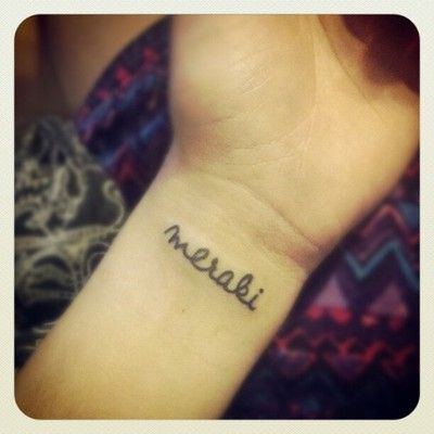 """Placement is on my left wrist. It says """"meraki"""" which is a word that modern Greeks often use to describe doing something with soul, creativity, or love —when you put """"something of yourself"""" into what you're doing, whatever it may be.  Done by Isaac Johnson at Branded Man Tattoo.: Tattoo Ideas, Art Tattoo, Men Tattoo, Tattoo Piercing, Greek Words, Meraki Tattoo, Modern Greek, Greek Sayings Tattoo, Greek Tattoo"""