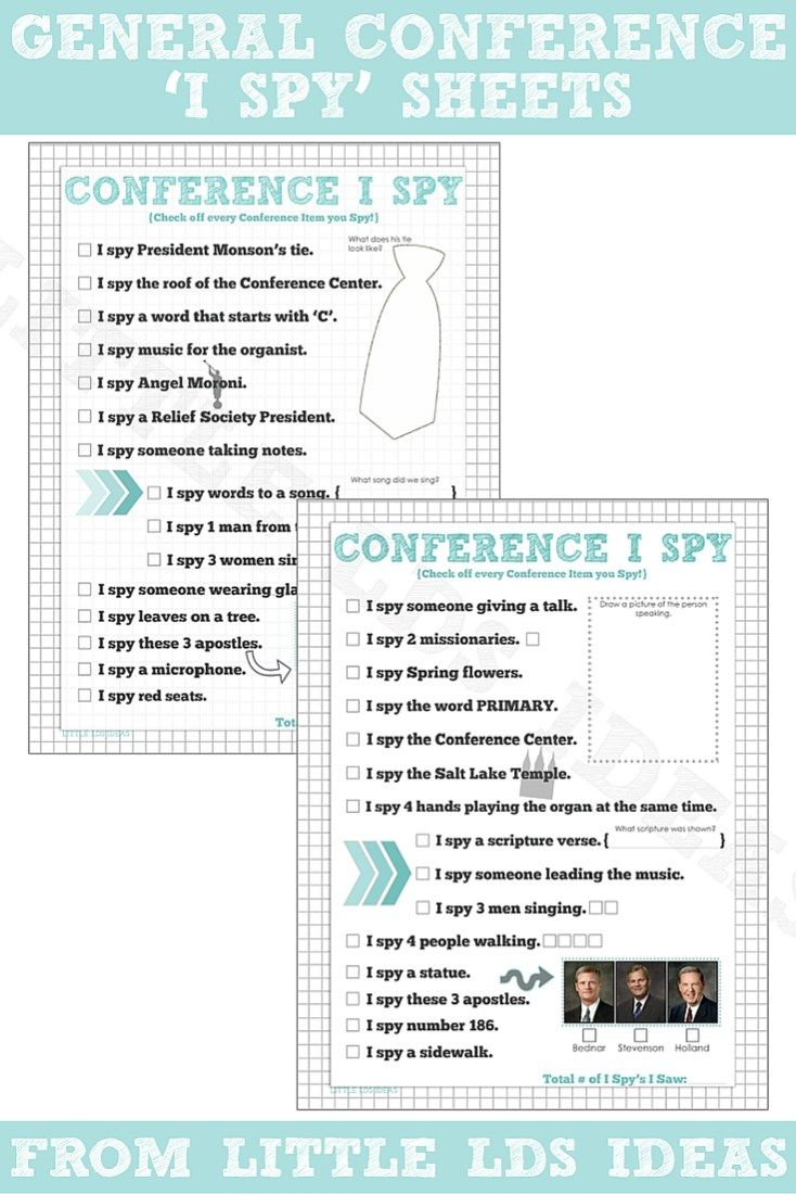 General Conference I Spy sheets! Updated for April 2016. Free printable from Little LDS Ideas