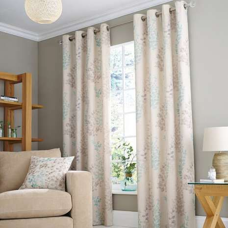 Made from a cotton and linen blend with a matching lining, these natural-coloured eyelet curtains are decorated with duck-egg plant print and are available in a...