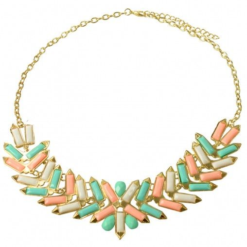 SACHA // Statement necklace pastel €12,95 #sachashoes #orange #mintgreen #white