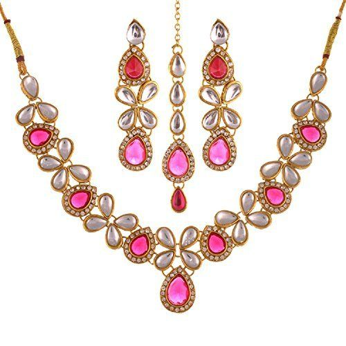 Indian Elegant Pink Stone Traditional Gold Tone Cz Party Wear Women Necklace Set Ddivaa, http://www.amazon.com/dp/B01MY9WXV3/ref=cm_sw_r_pi_dp_x_rPmuzbDW54JNB