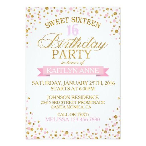 Sparkle Gold Glitter Dots Sweet Sixteen Birthday Invitation Card