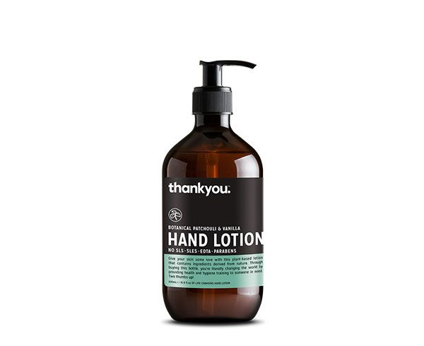 Thankyou 500mL Patchouli & Vanilla Hand Lotion. Free from parabens, SLS, SLES, EDTA and harsh chemicals (RRP $6.99)