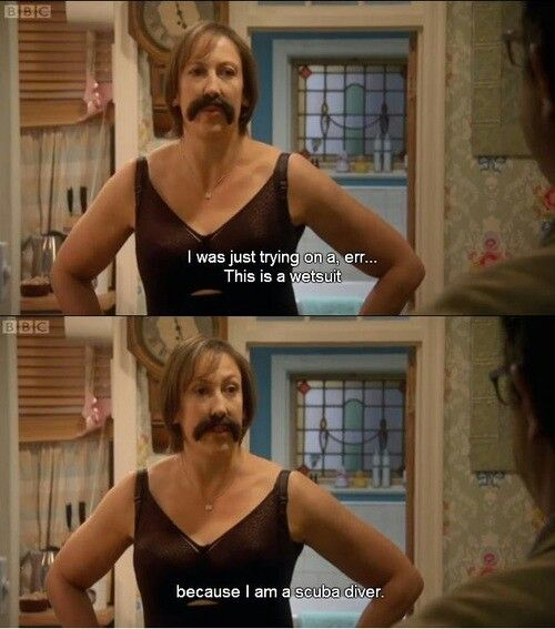 Miranda Hart. In spanks and a mustache, opens the door to mike. Hahaha too funny