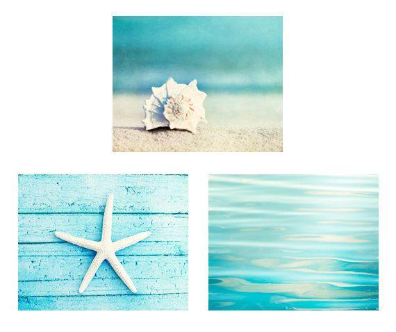 Beach Print Set - Set of 3 8x10 Photographs - aqua photo set ocean sea - seashell starfish photography - white seashore coastal wall art via Etsy