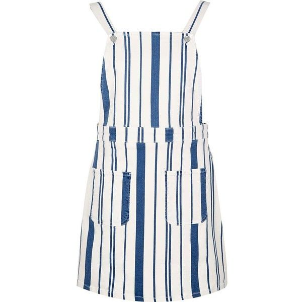 River Island White stripe overall dress (1.020.490 IDR) ❤ liked on Polyvore featuring overalls, rompers/ jumpsuits, white, women and river island