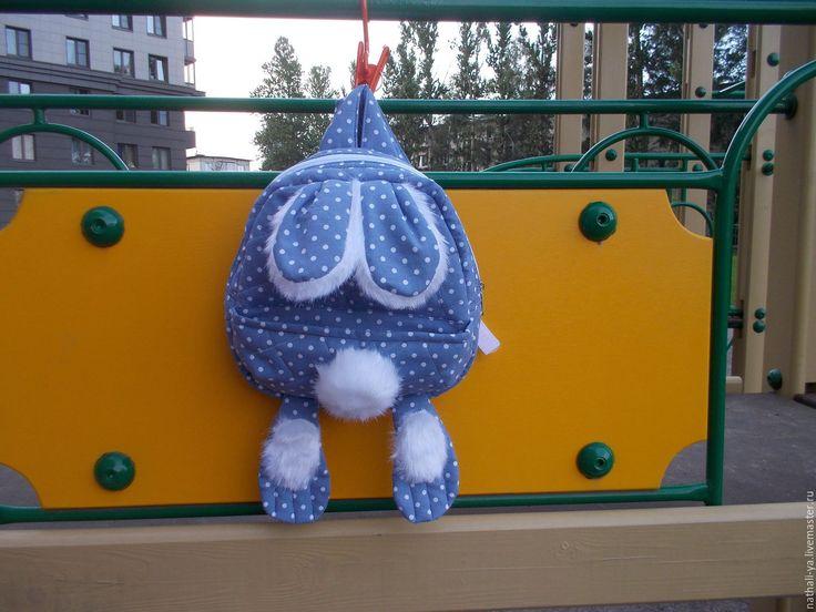 """Купить Детский рюкзачок """"МОЙ ЗАЙ"""" - синий, в горошек, детская игрушка, детский, рюкзак детский"""