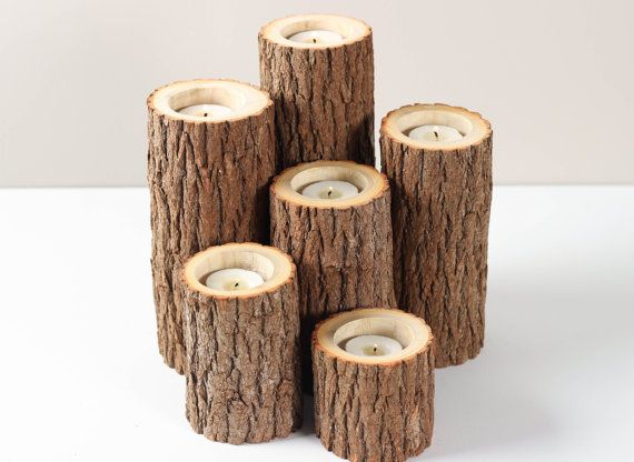 Tree Branch Candle Holders Set of 6- Rustic Wood Candle Holders, Tree Slice, Woodland Candle Holders on Etsy, $32.50