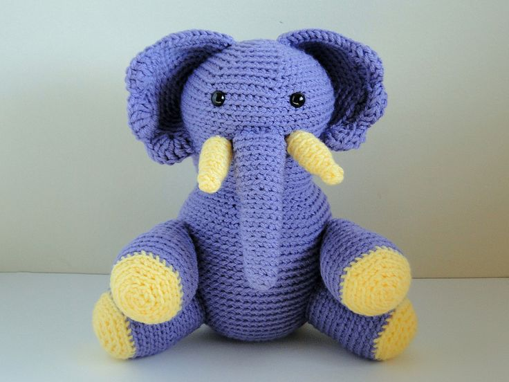 Hook and needles amigurumi tutorial : Purple crochet elephant via casey dalene plusthree
