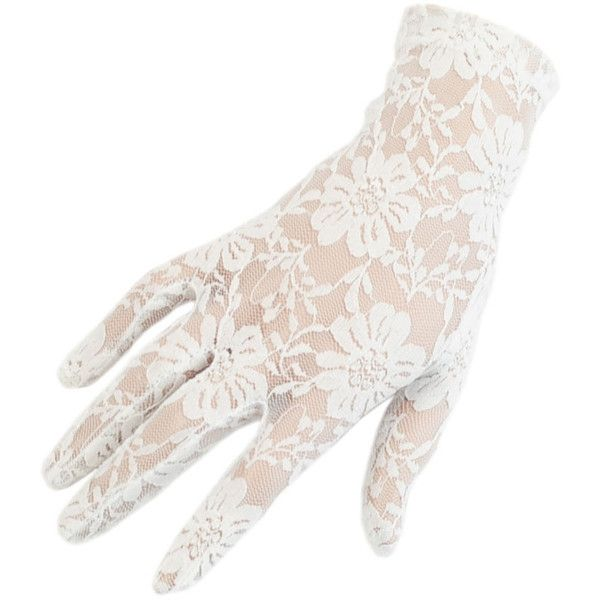 Black Short Ivory Fine lace Gloves ($31) ❤ liked on Polyvore featuring accessories, gloves, evening gloves, stretch gloves, white winter gloves, short gloves and lace gloves
