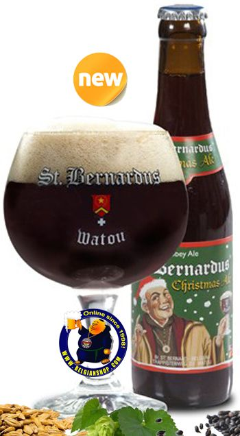Our New Beer: St-Bernardus Christmas Ale 10° St. Bernardus Christmas Ale is the youngest descendant in the illustrious family of delicious Abbey Ales by Brewery St. Bernardus. Pours a cloudy, dark brown/mahogany colour with thick, foamy (slightly creamy) off white head that lingers. ... Available at http://store.belgianshop.com/christmas-beers/1490-st-bernardus-christmas-ale-10-13l.html