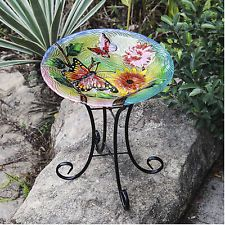 Butterflies With Flowers Glass Bird Bath With Iron Stand Pedestal Multicolor