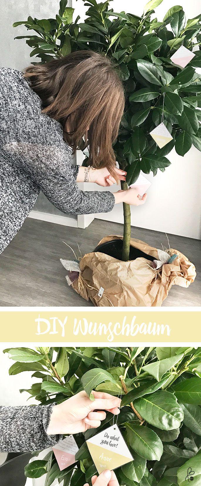 Wunschbaum DIY: Liebevolle Geschenkidee mit mehreren Leuten. Schön & einfach! #Wunschbaum #DIYGeschenk #doityourself #geschenkidee #baumhochzeit #weddingidea #gästebuch