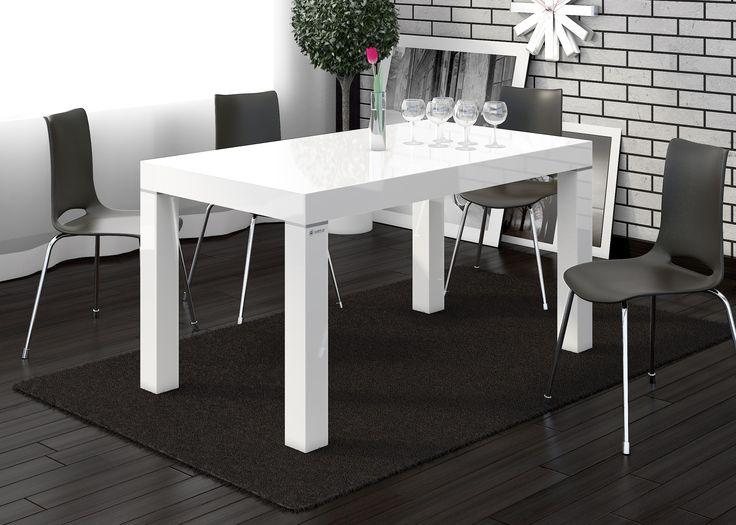 Biały, nowoczesny stół, Capri, wysoki połysk, Hubertus