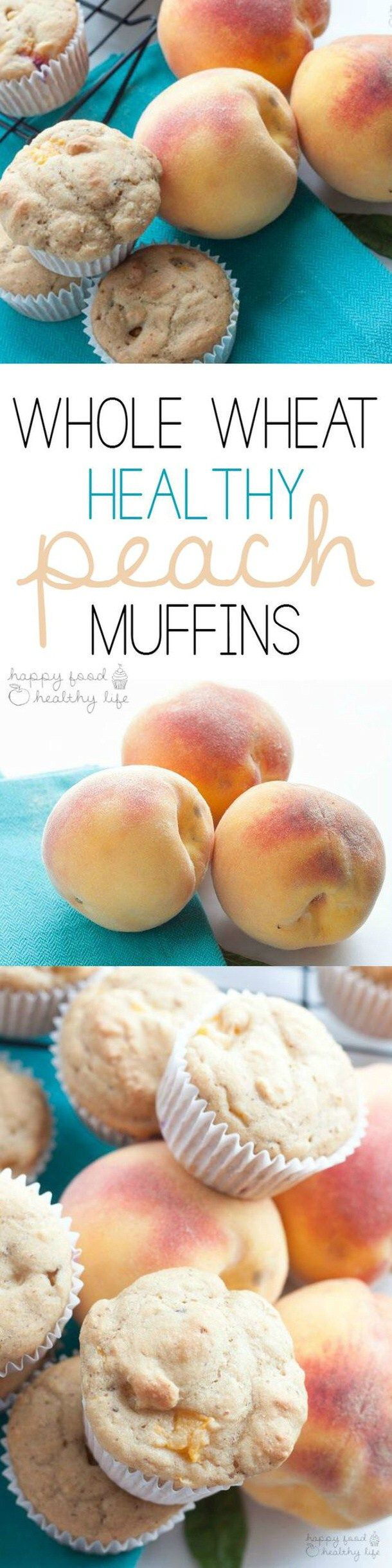 Healthy Snacks - Whole Wheat Healthy Peach Muffins Recipe via Happy Food Healthy Life