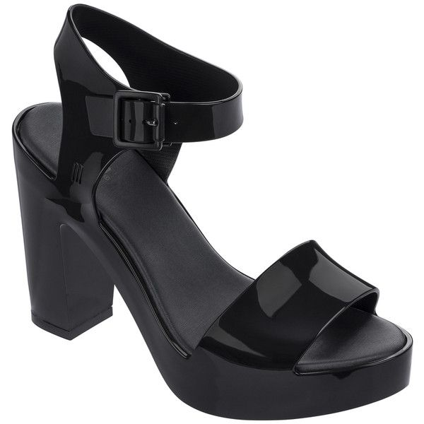 Melissa Mar Heel Black (405 BRL) ❤ liked on Polyvore featuring shoes, sandals, evening sandals, kohl shoes, melissa sandals, long shoes and black shoes
