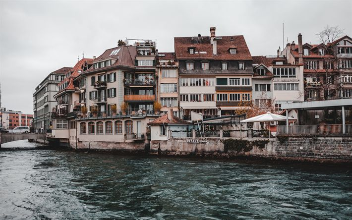 Download wallpapers Thun, 4k, river, embankment, overcast, Switzerland, Europe