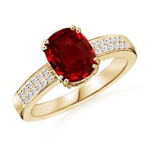 Cushion Ruby and Diamond Ring in 14k Yellow Gold http://electmejewellery.com/jewelry/cushion-ruby-and-diamond-ring-in-14k-yellow-gold-ca/