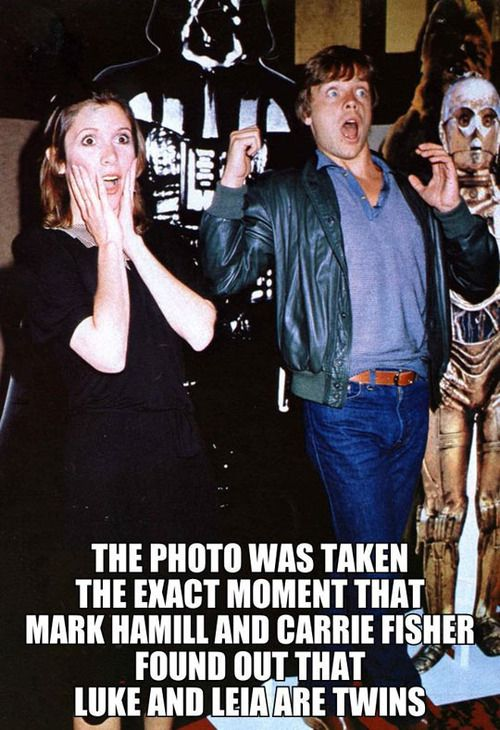 """""""The exact moment that Mark Hamill and Carrie Fisher found out that Luke and Leia are twins."""""""