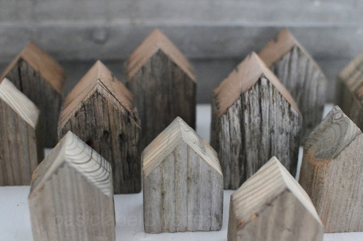 How cute would these little wooden houses be as bookends?