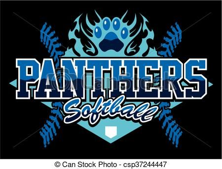 Vector - panthers softball - stock illustration, royalty free illustrations, stock clip art icon, stock clipart icons, logo, line art, EPS picture, pictures, graphic, graphics, drawing, drawings, vector image, artwork, EPS vector art