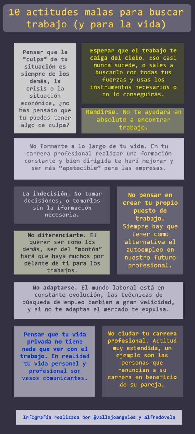 10 malas actitudes para buscar #empleo #infografia #infographic
