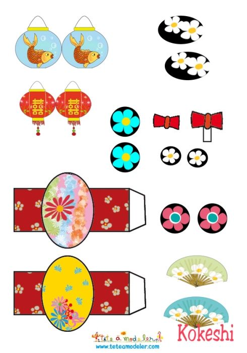 coloriage Accesoires pour Kokeshi paper toy